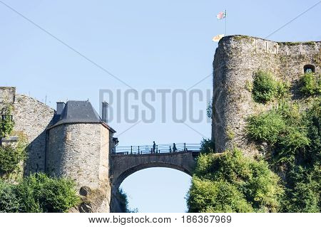 View at walls and lock bridge of medieval Castle Bouillon in Belgian Ardennes