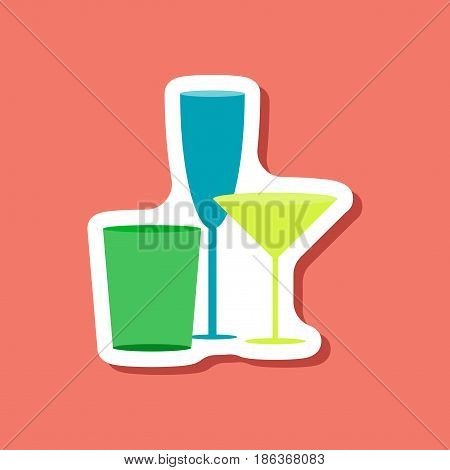 paper sticker Cocktail glasses champagne liquor martini collection