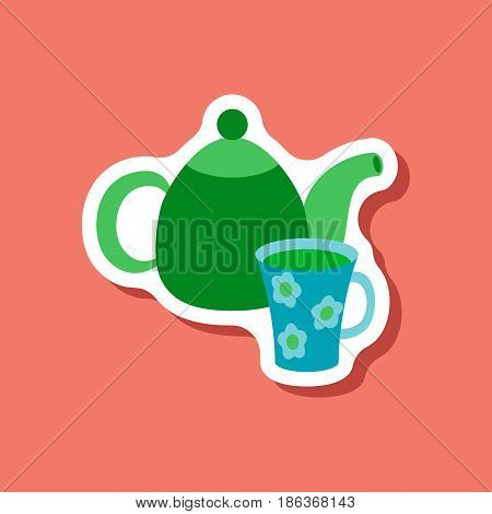 paper sticker Tea kettle and cup food