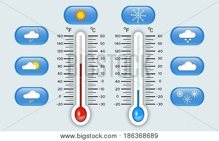 Celsius and fahrenheit meteorology thermometers showing hot and cold temperature set of weather icons indicators template vector illustration.