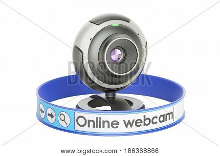 Internet communication concept webcam online. 3D rendering isolated on white background