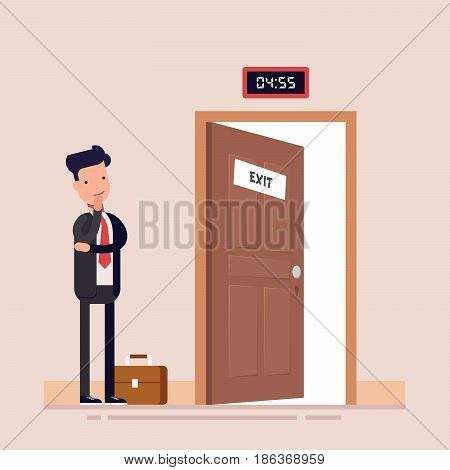 businessman or manager faces an open door waiting for the end of the working day. Flat character. Vector illustration
