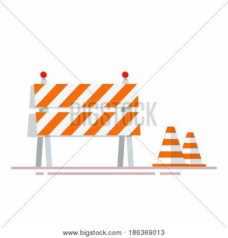 Construction fencing and cones for indicating dangerous places or objects. Flat object isolated on white background