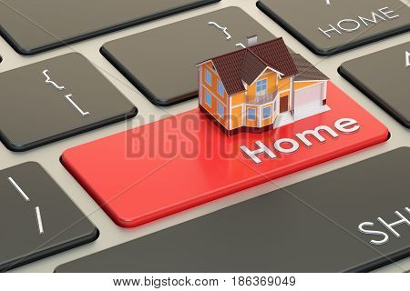 Property concept home on keyboard button 3D rendering