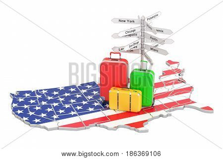 USA travel concept. US flag on map with suitcases and signpost 3D rendering
