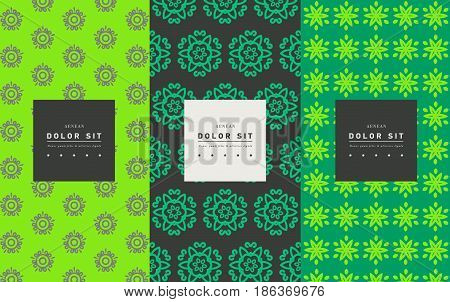 Vector set of packaging design templates, linear patterns and frames with copy space for text for cosmetics, beauty products, organic and healthy food with green leaves - modern ornaments