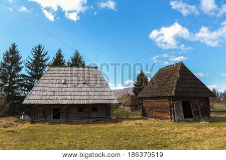 Traditional Wooden Houses In Maramures County In Romania.