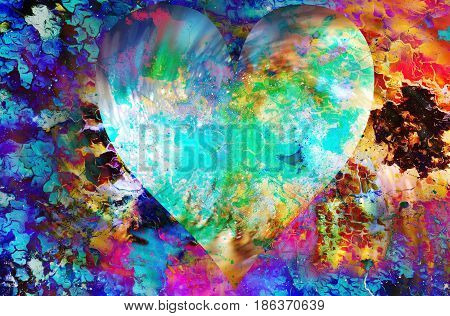 Heart in cosmic space, color cosmic abstract background and crackle structure
