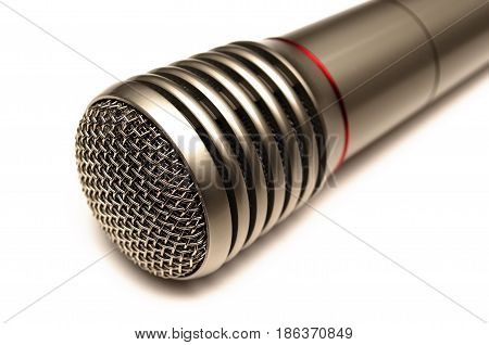 Microphone isolated on white background. Wireless radio microphone close up.