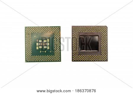 Processors of computer isolated on white background. Cpu (central processing unit).