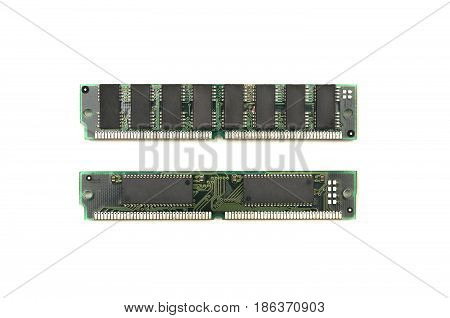 Computer memory modules isolated on white background.