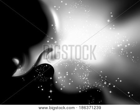 Black and white festive glitter background with sparkle lights