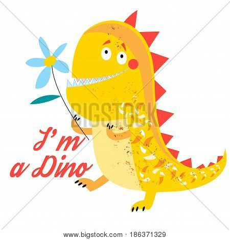 Vector of brightly amusing dinosaur on white background
