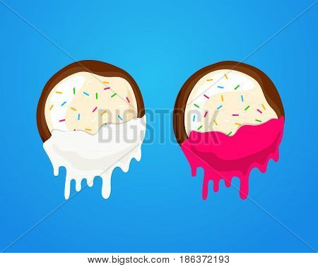 Vector illustration cookie dunks in chocolate and milk. Biscuit cracker