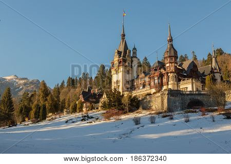 Peles castle a masterpiece of Neo-Renaissance architecture built between 1873 and 1914 the first European castle entirely lit by electrical current.Peles castle a masterpiece of Neo-Renaissance architecture built between 1873 and 1914 the first European c