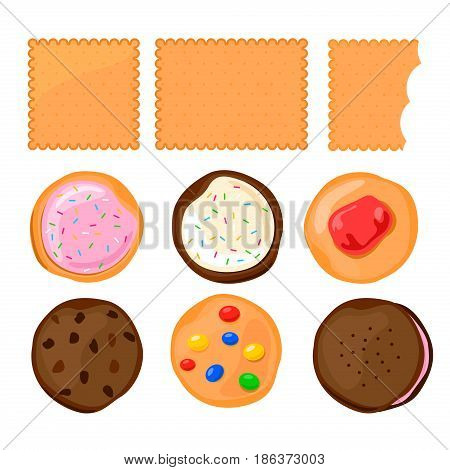 Biscuit Сookie with colorful candies or jam set on white background.