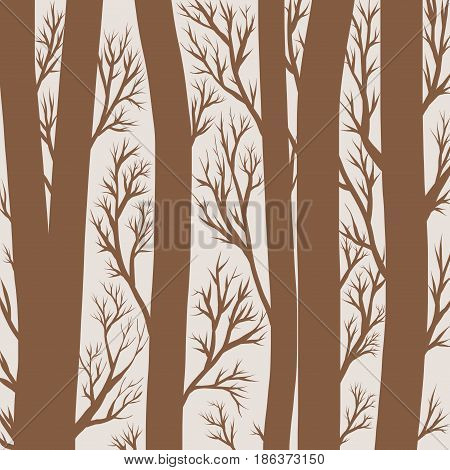 Graphic bicolor illustration of forest. Trees and branches. Silhouette.