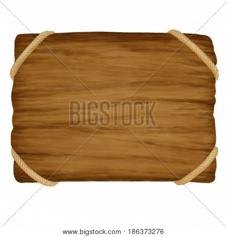 Wood grain. Empty vintage wooden sign promotion template banner with rope on the corners. Rustic textured board with place for text. 2d illustration.