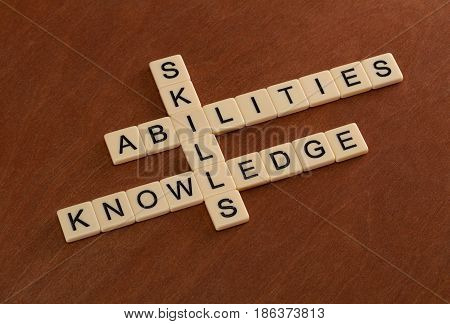 Crossword Puzzle With Words Skills, Abilities, Knowledge. Learning Concept.
