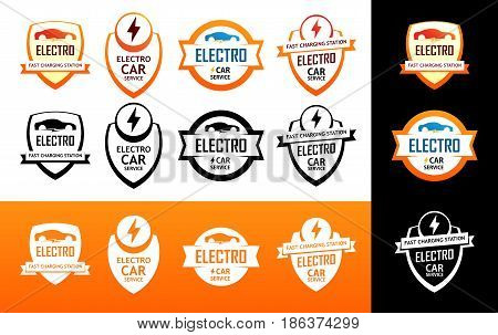 Set of Colorful Logotypes of Electro Cars on Backgrounds with Different Styles Vector Illustrations.