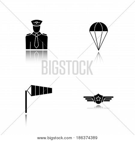 Pilot drop shadow black icons set. Parachute, airport windsock, pilot label symbol. Isolated vector illustrations