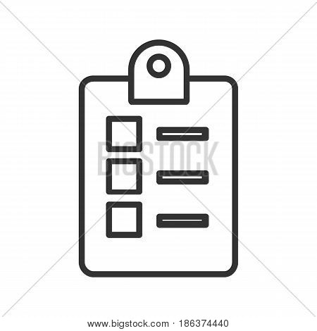 Checklist icon linear icon. Thin line illustration. Vector isolated outline drawing