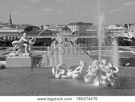 Monochrome Picture of Beautiful Fountain against Vienna cityscape, Belvedere  Garden in Vienna, Austria