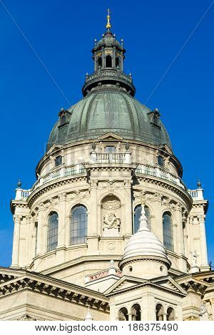 BUDAPEST, HUNGARY - FEBRUARY 22, 2016: St. Stephen's Basilica is a Roman Catholic basilica in Budapest, Hungary. It is named in honour of Stephen, the first King of Hungary.