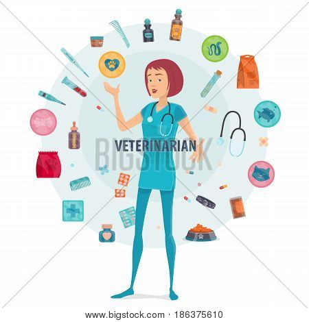 Veterinarian round composition with medical tools equipment animal products and pet nurse in centre isolated vector illustration