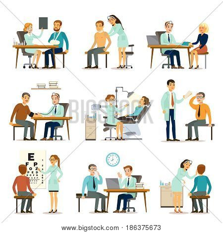 Medical examination collection with people visiting different doctors for health diagnostic isolated vector illustration