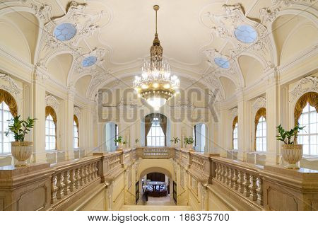 BUDAPEST, HUNGARY - February 23, 2016: Interior of the Museum of Agriculture in Budapest, Hungary