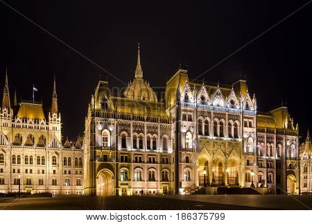 BUDAPEST, HUNGARY - FEBRUARY 23, 2016: Night view of the Hungarian Parliament Building in Budapest, Hungary