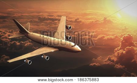The airplane is flying across the sky in the sunset 3d illustration
