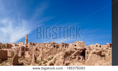 View over ancient city of Karanaq by Yazd In Iran