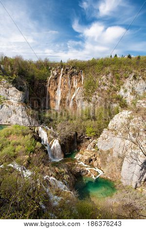 Panoramic view of the Big waterfall and other cascade waterfalls in Plitvice Lakes National Park Croatia