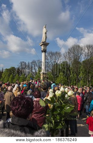 Czestochowa Jasna Gora Poland May 13 2017: Worship with Mary the Queen on the 100th anniversary of the apparitions of Fatima