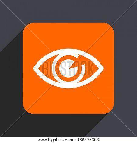 Eye orange flat design web icon isolated on gray background