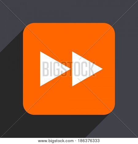 Rewind orange flat design web icon isolated on gray background