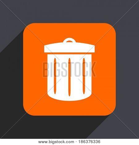 Recycle orange flat design web icon isolated on gray background