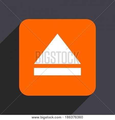 Eject orange flat design web icon isolated on gray background