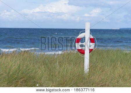 orange with white life buoy along a danish beach