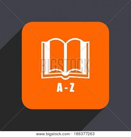 Dictionary orange flat design web icon isolated on gray background