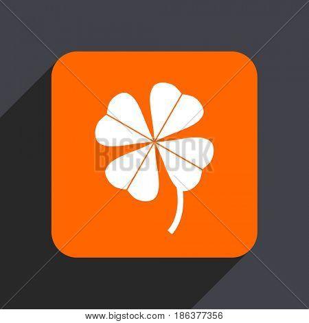Four-leaf clover orange flat design web icon isolated on gray background