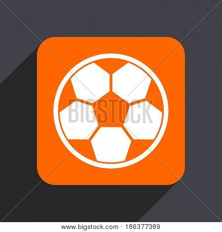 Soccer orange flat design web icon isolated on gray background