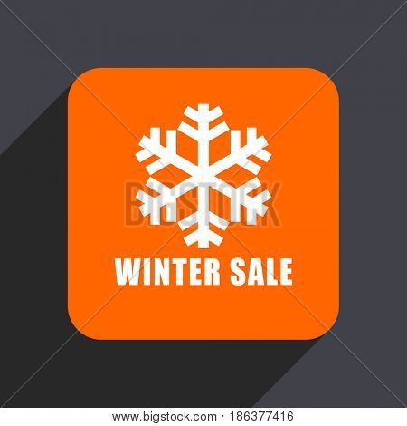 Winter sale orange flat design web icon isolated on gray background