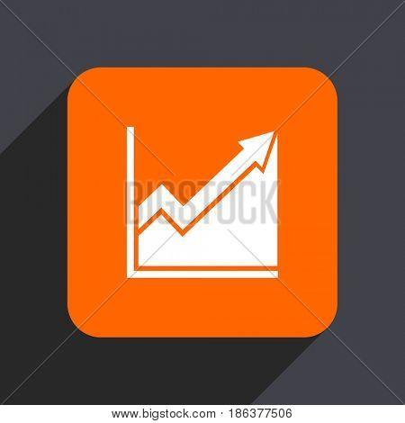 Histogram orange flat design web icon isolated on gray background