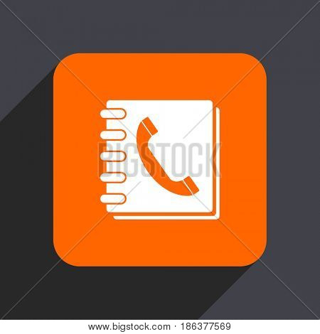 Phonebook orange flat design web icon isolated on gray background
