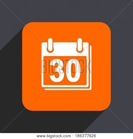Calendar orange flat design web icon isolated on gray background