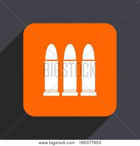 Ammunition orange flat design web icon isolated on gray background