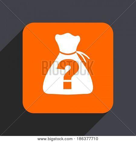 Riddle orange flat design web icon isolated on gray background